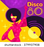 Retro 80s Disco Poster. Vector...