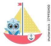 owl sailor on the boat | Shutterstock .eps vector #379950400