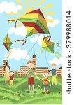children launch colorful kites. ...   Shutterstock .eps vector #379988014