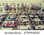 Stock photo blur abstract background of cafeteria in university or food court in shopping mall vintage style 379994050