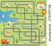 vector funny maze game  help... | Shutterstock .eps vector #379999738