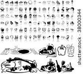 food set of black sketch. part... | Shutterstock .eps vector #38000344