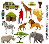 africa cartoon icons set with... | Shutterstock .eps vector #380006038
