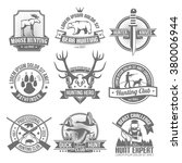 black hunting emblems set | Shutterstock .eps vector #380006944