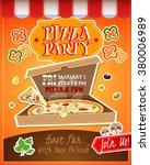 pizza party cartoon advertising ...   Shutterstock .eps vector #380006989