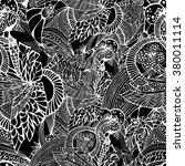 black and white vector seamless ... | Shutterstock .eps vector #380011114
