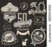 vintage style 50 anniversary... | Shutterstock .eps vector #380024500