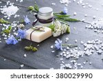 soap  cream and bath salt with... | Shutterstock . vector #380029990