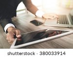 businessman working with blank... | Shutterstock . vector #380033914
