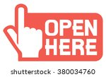 open here label or sticker | Shutterstock .eps vector #380034760