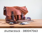 brown leather bags with men's... | Shutterstock . vector #380047063