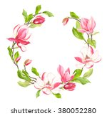 spring wreath of blooming... | Shutterstock .eps vector #380052280