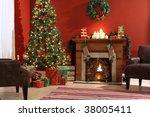 festive christmas interior | Shutterstock . vector #38005411
