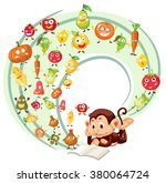 monkey reading book of fruits... | Shutterstock .eps vector #380064724