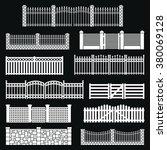 vector fence silhouette set... | Shutterstock .eps vector #380069128