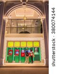 Phuket, Thailand - Jan 29, 2016 : Front of Kasikorn bank shown ATM set in the night time with Sino-portuguese architectural style. It is well-known destionation for tourist as it is very beautiful. - stock photo