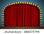 stage with red curtain  lights... | Shutterstock .eps vector #380075794