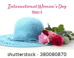 Ladies Sun Hat And Roses On A...