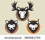 flat animal elk boar lynx in... | Shutterstock .eps vector #380081704