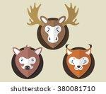 flat animal elk boar lynx | Shutterstock .eps vector #380081710