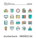 office things  thin line color... | Shutterstock .eps vector #380082136