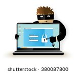 data theft. hacker breaks into... | Shutterstock .eps vector #380087800