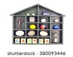partitioned wooden shelf filled ... | Shutterstock . vector #380093446