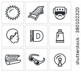 vector set of sun tanning icons.... | Shutterstock .eps vector #380102320
