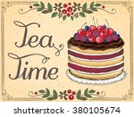 illustration tea time with... | Shutterstock .eps vector #380105674