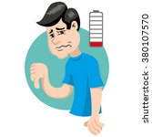 mascot person man with weakness ... | Shutterstock .eps vector #380107570