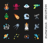 sixteen stylish space icons | Shutterstock .eps vector #380109244