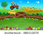 funny landscape with tractor... | Shutterstock .eps vector #380112070