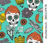 hand drawn tattoo mexican scull ... | Shutterstock .eps vector #380119978