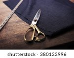 measuring and cutting textile... | Shutterstock . vector #380122996
