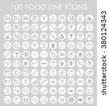 100 food line icons set. eps 10. | Shutterstock .eps vector #380124343