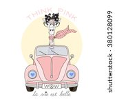 Stock vector cute giraffe girl driving pink car think pink life is beautiful kid illustration textile design 380128099
