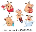 set of cheerful pigs cartoon  | Shutterstock . vector #380138206