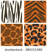 set of vector seamless animals... | Shutterstock .eps vector #380151580