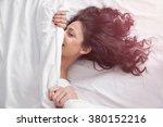 beautiful brunette long hair...   Shutterstock . vector #380152216