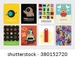 eight banners with monsters.... | Shutterstock .eps vector #380152720