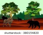 bizon and bear in american... | Shutterstock .eps vector #380154820