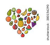 vector collection of fruit line ... | Shutterstock .eps vector #380156290