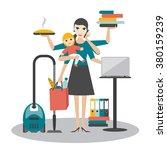 multitask woman. mother ... | Shutterstock .eps vector #380159239
