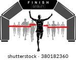 winning scene men's marathon   Shutterstock .eps vector #380182360