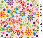 seamless pattern with butterfly ... | Shutterstock .eps vector #380183236