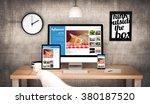 digital generated workplace...   Shutterstock . vector #380187520