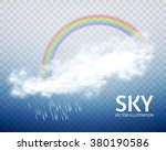 rainbow  cloud   rain. weather  ... | Shutterstock .eps vector #380190586