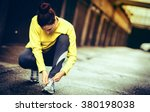 young woman preparing for a run ... | Shutterstock . vector #380198038