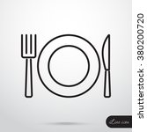 line icon  plate  knife and fork | Shutterstock .eps vector #380200720