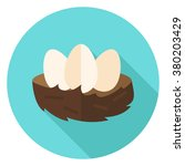nest with eggs circle icon.... | Shutterstock .eps vector #380203429